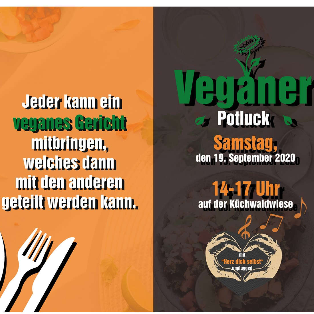 """Veganer Potluck mit """"Herz dich selbst"""" unplugged"""