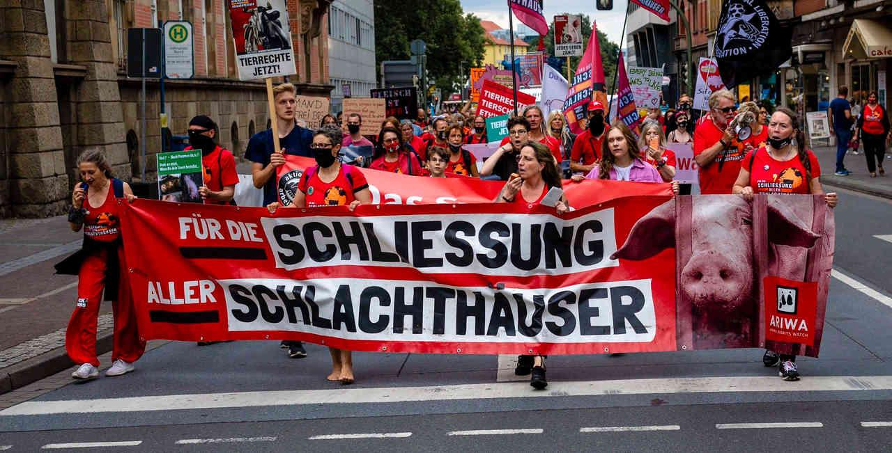 Demonstration für die Schließung aller Schlachthäuser